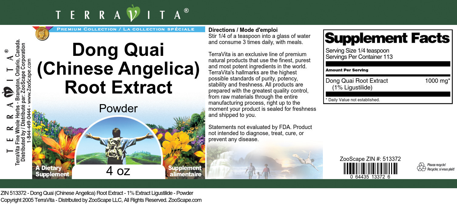 Dong Quai (Chinese Angelica) Root Extract - 1% Ligustilide - Powder