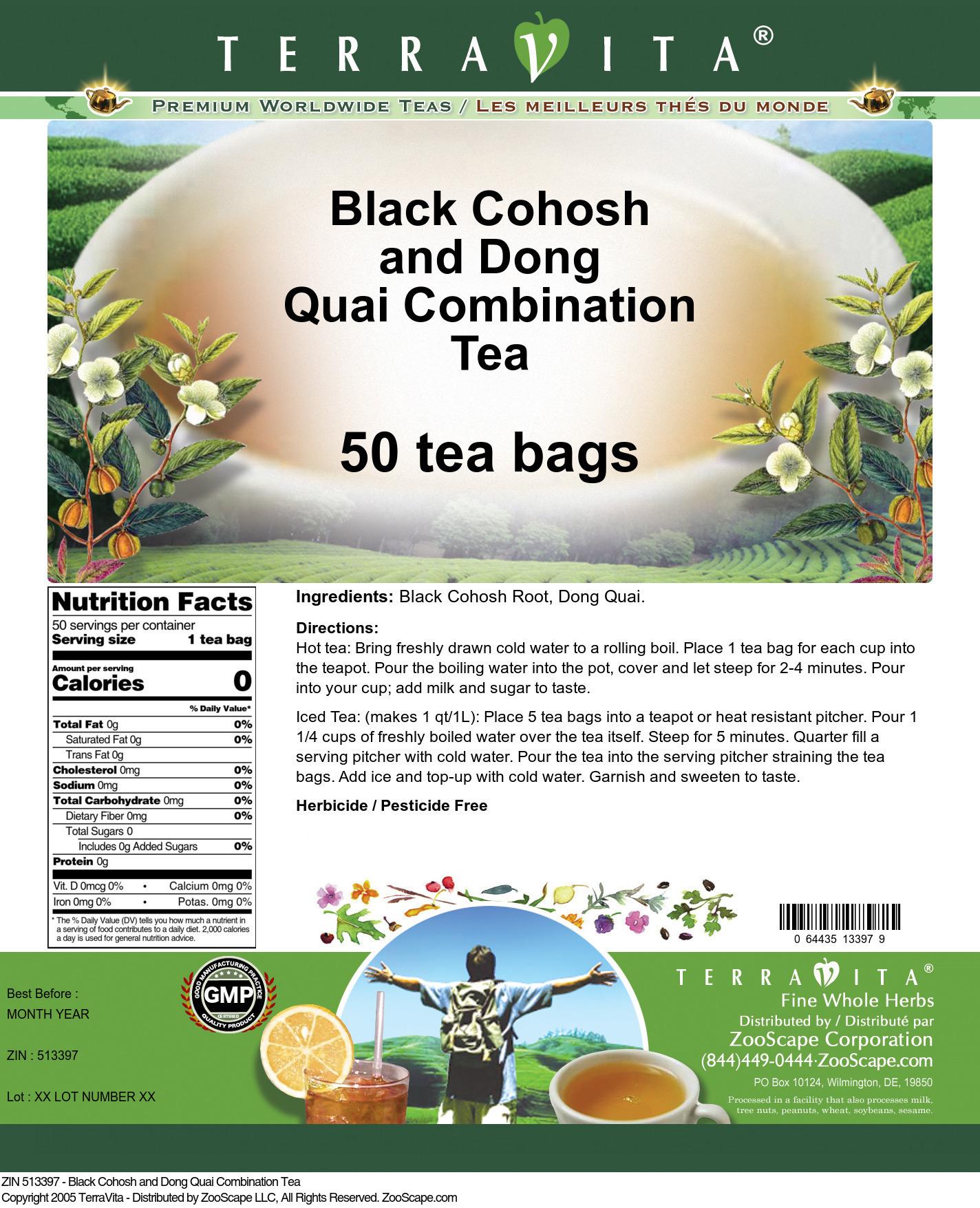 Black Cohosh and Dong Quai Combination Tea - Label