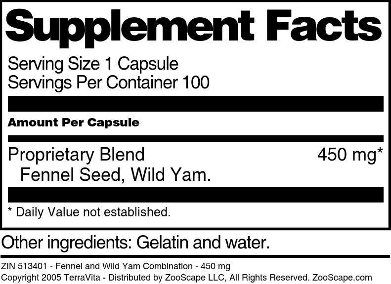 Fennel and Wild Yam Combination - 450 mg