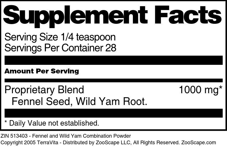 Fennel and Wild Yam Combination Powder