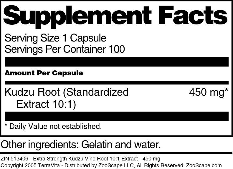 Extra Strength Kudzu Vine Root 10:1 Extract - 450 mg