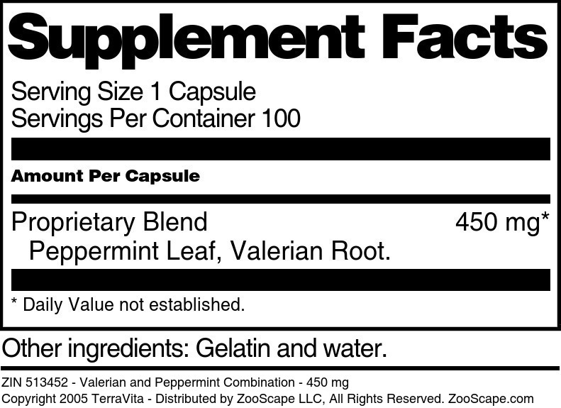 Valerian and Peppermint Combination - 450 mg