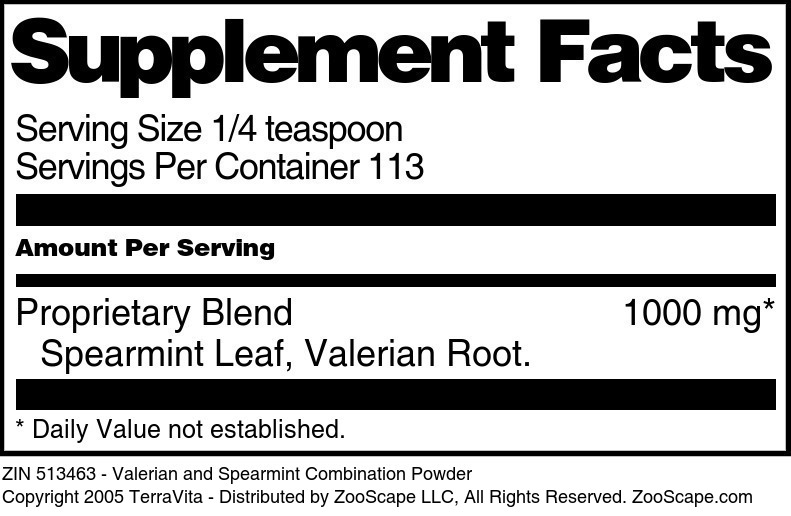 Valerian and Spearmint Combination Powder