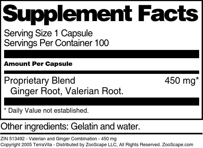 Valerian and Ginger Combination - 450 mg