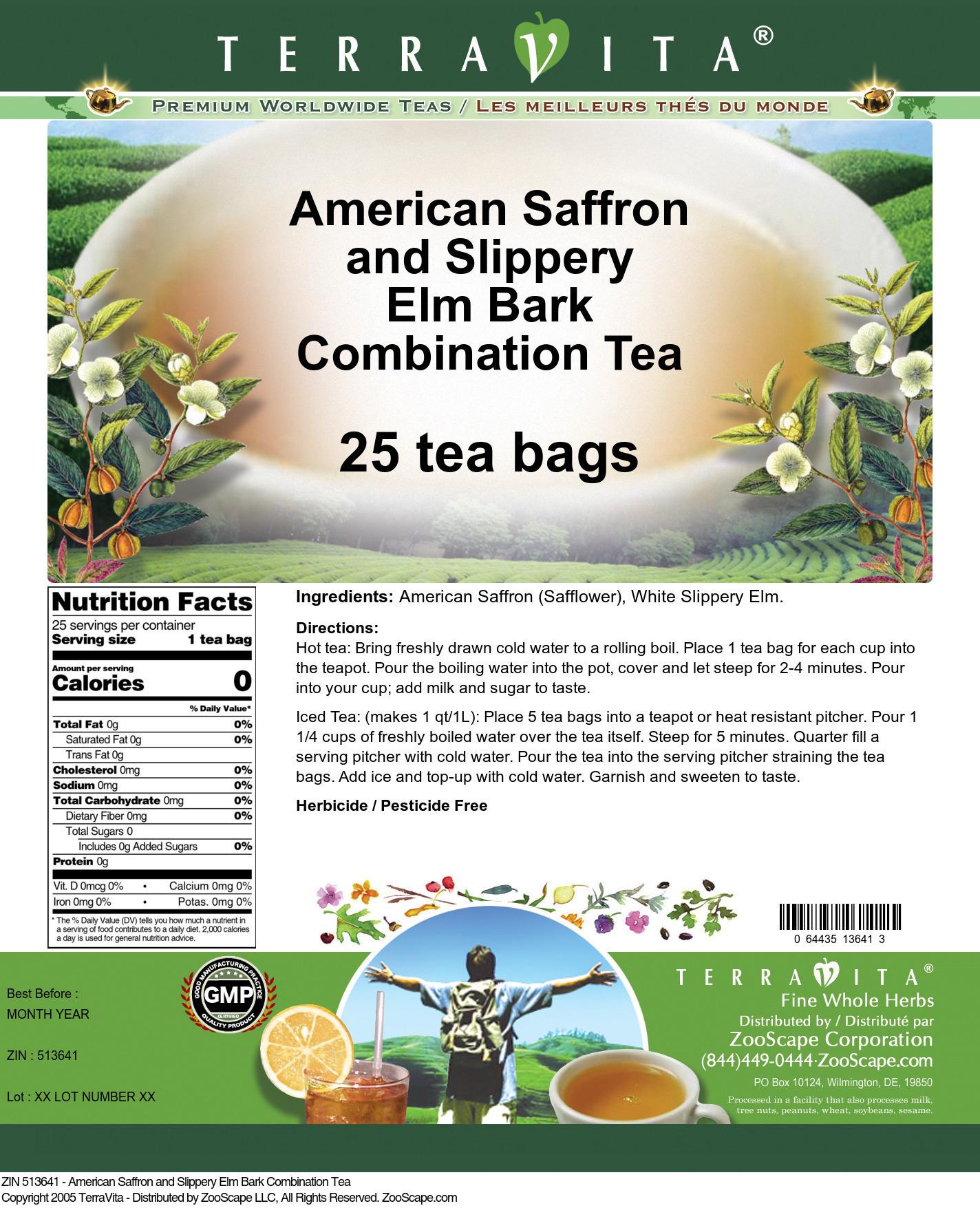 American Saffron and Slippery Elm Bark Combination Tea