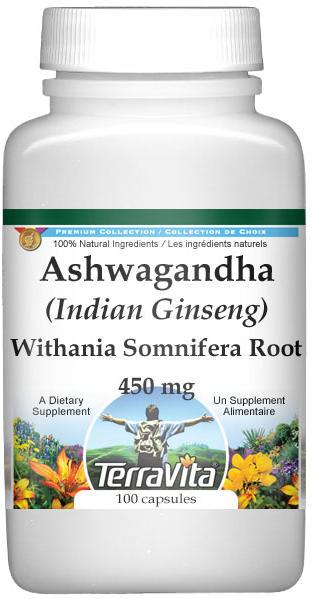 Ashwagandha (Indian Ginseng) - Withania Somnifera Root - 450 mg