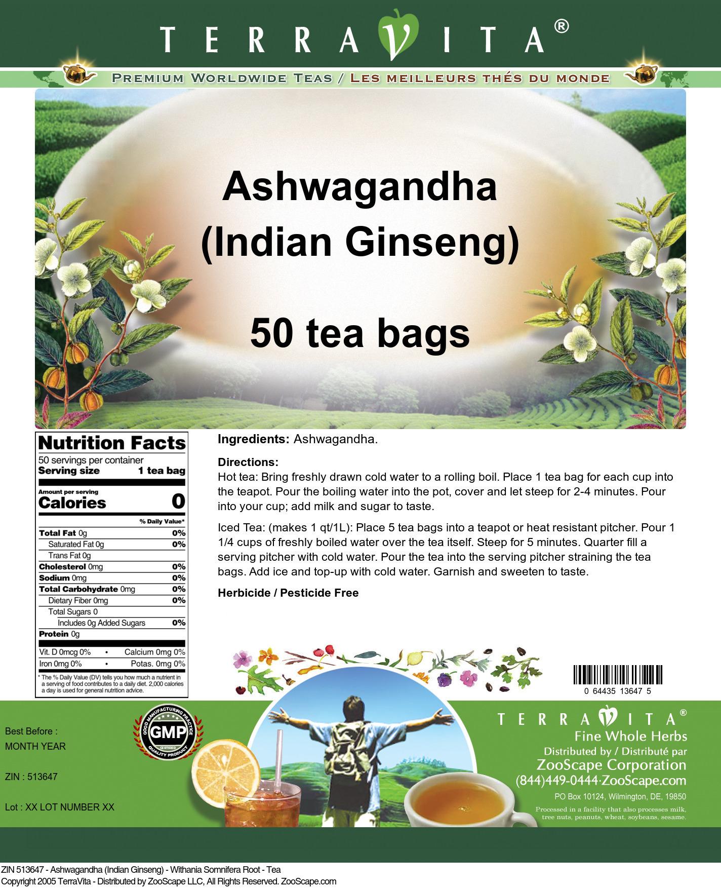 Ashwagandha (Indian Ginseng) - Withania Somnifera Root - Tea