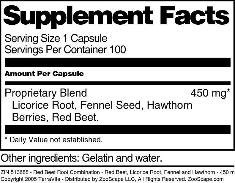 Red Beet Root Combination - Red Beet, Licorice Root, Fennel and Hawthorn - 450 mg