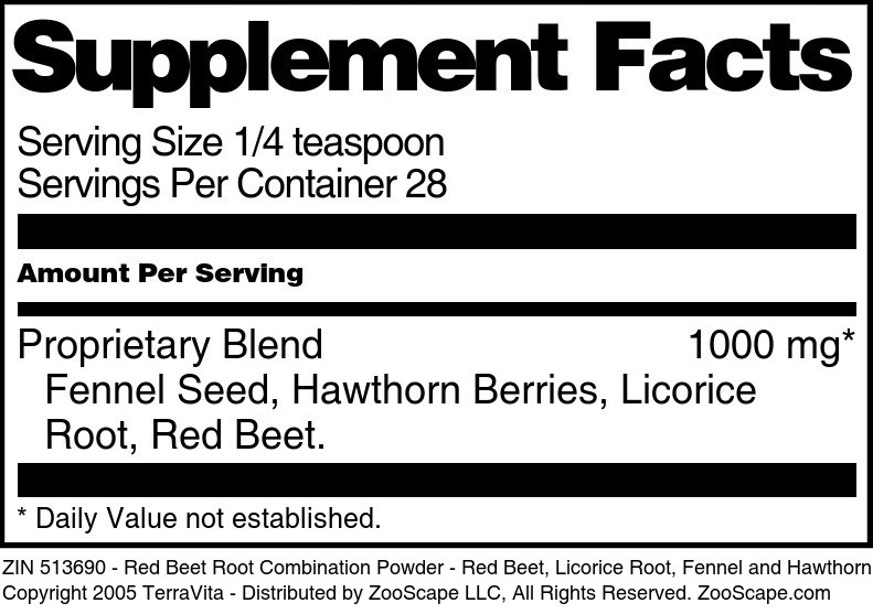 Red Beet Root Combination Powder - Red Beet, Licorice Root, Fennel and Hawthorn