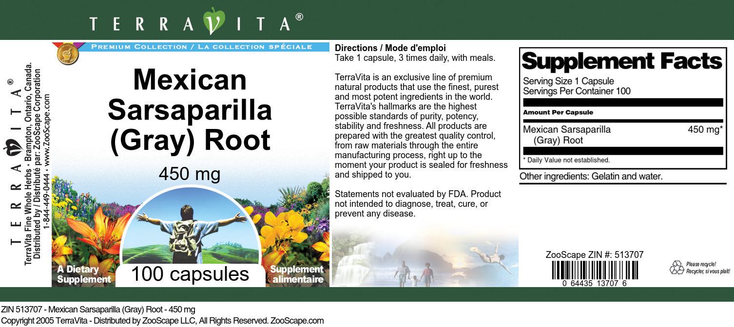 Mexican Sarsaparilla (Gray) Root - 450 mg