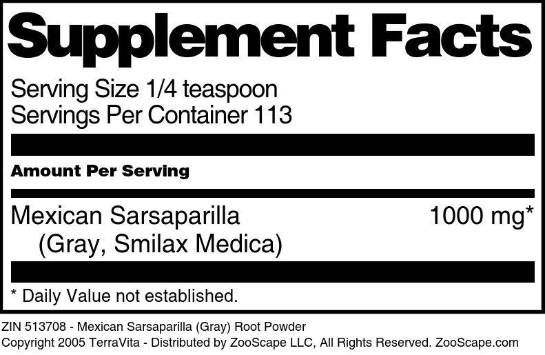 Mexican Sarsaparilla <BR>(Gray, Smilax Medica)