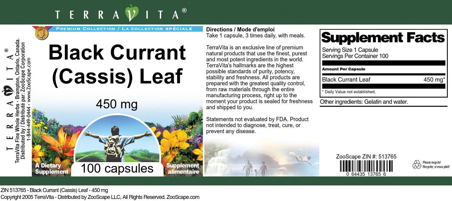 Black Currant (Cassis) Leaf - 450 mg - Label