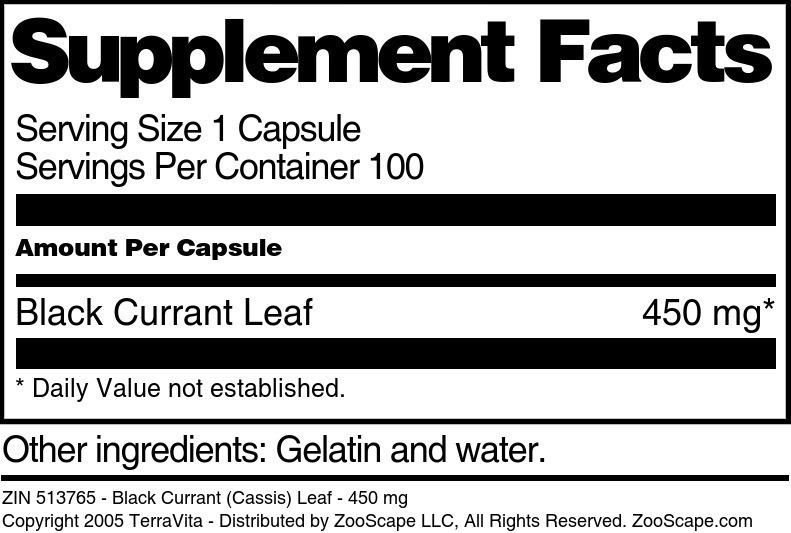 Black Currant (Cassis) Leaf - 450 mg