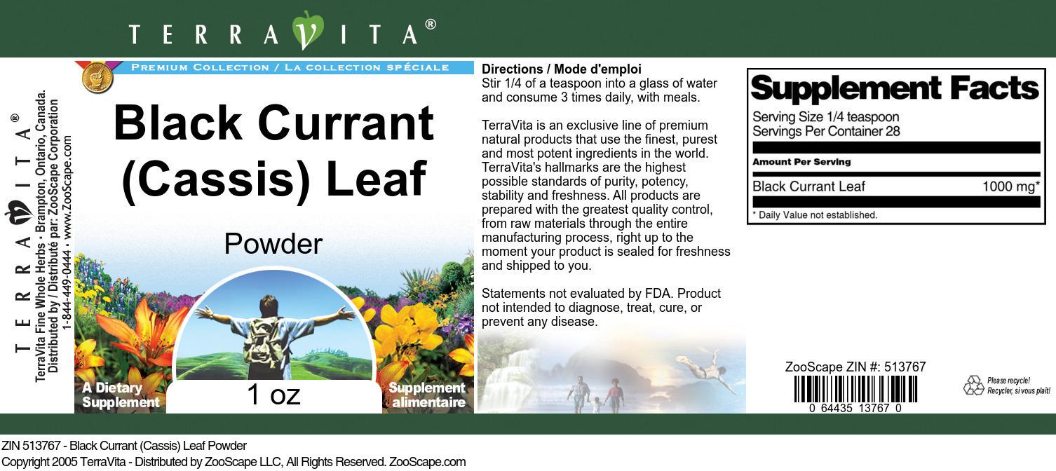 Black Currant (Cassis) Leaf Powder