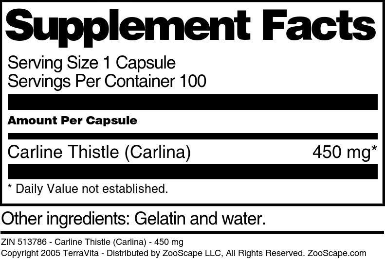 Carline Thistle (Carlina) - 450 mg