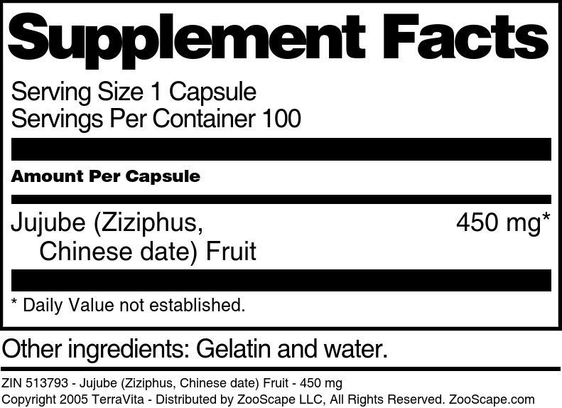 Jujube (Ziziphus, Chinese date) Fruit - 450 mg