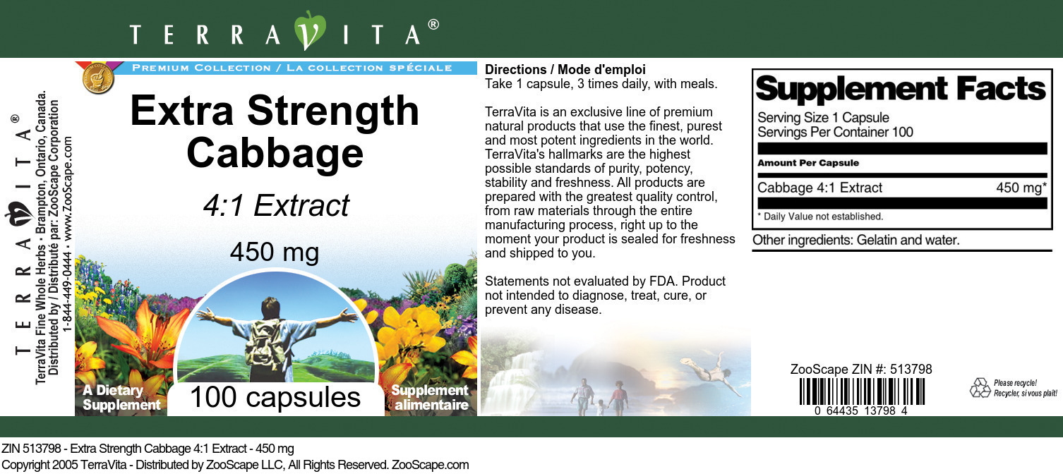 Extra Strength Cabbage 4:1 Extract - 450 mg