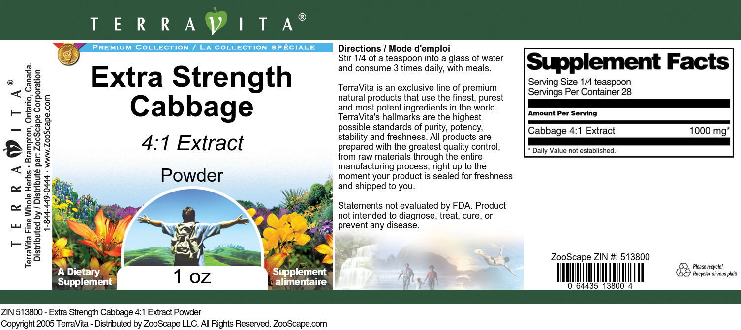 Extra Strength Cabbage 4:1 Extract Powder