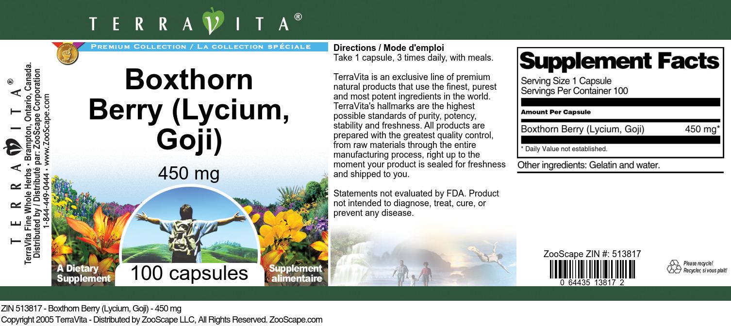 Boxthorn Berry (Lycium, Goji) - 450 mg