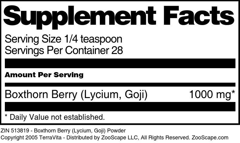 Boxthorn Berry (Lycium, Goji) Powder