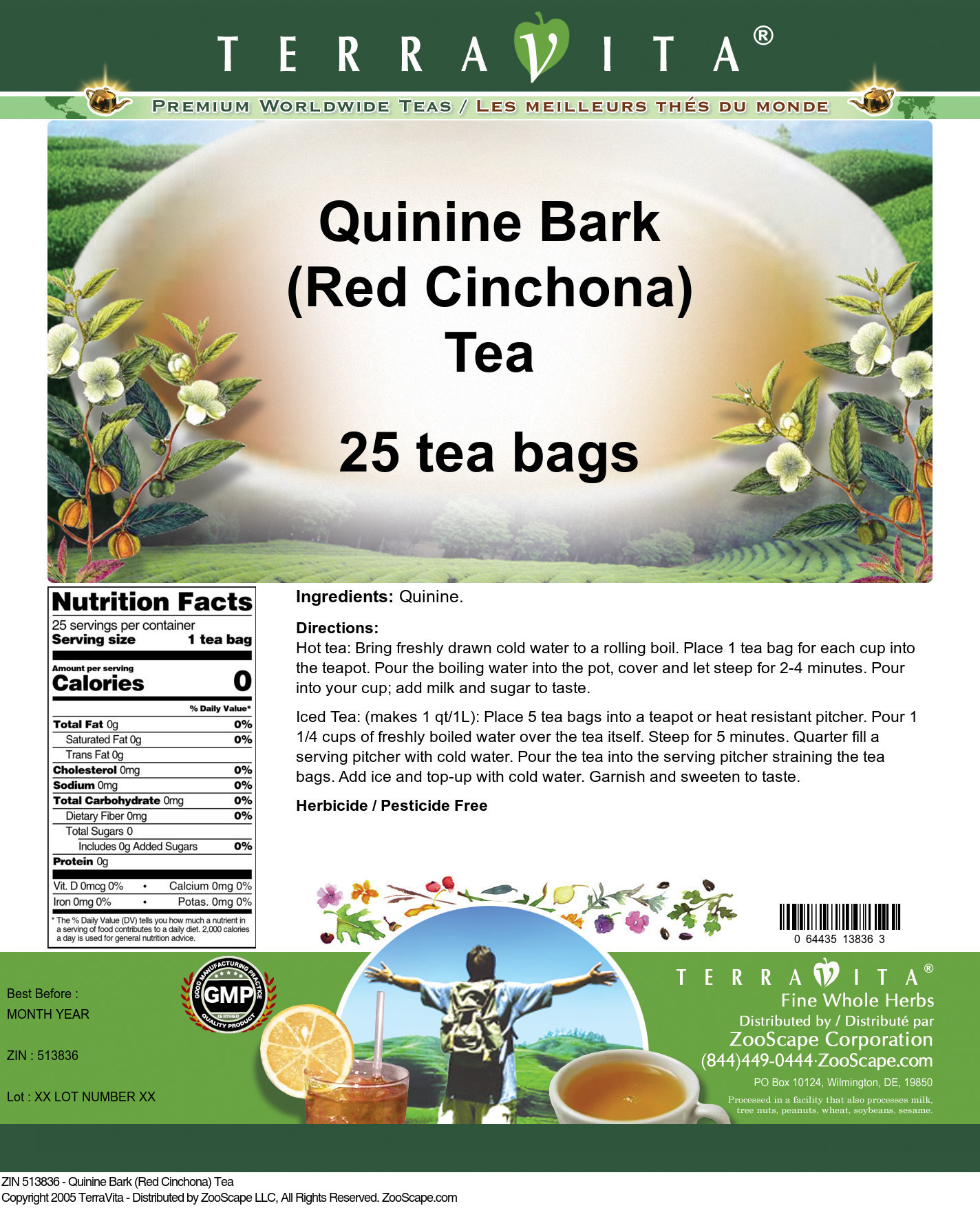Quinine Bark (Red Cinchona) Tea