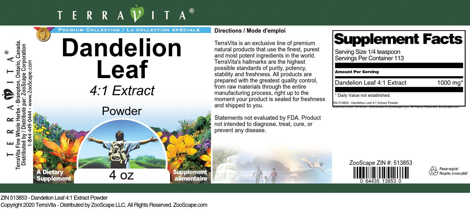 Dandelion Leaf 4:1 Extract Powder