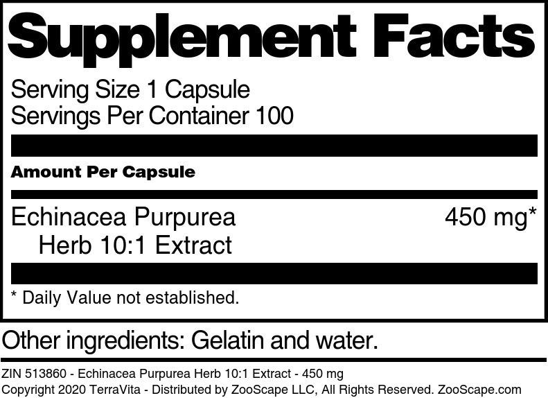 Echinacea Purpurea Herb 10:1 Extract - 450 mg
