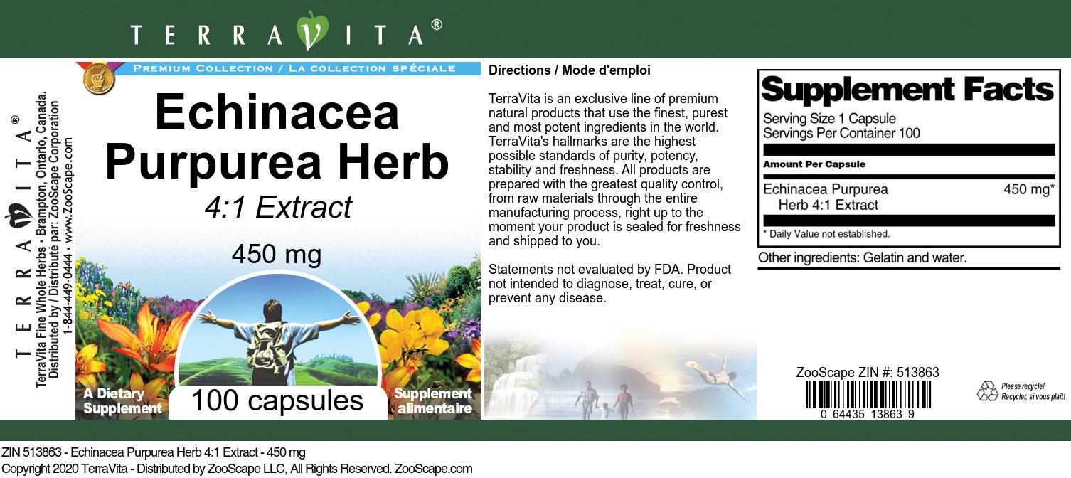 Echinacea Purpurea Herb 4:1 Extract - 450 mg