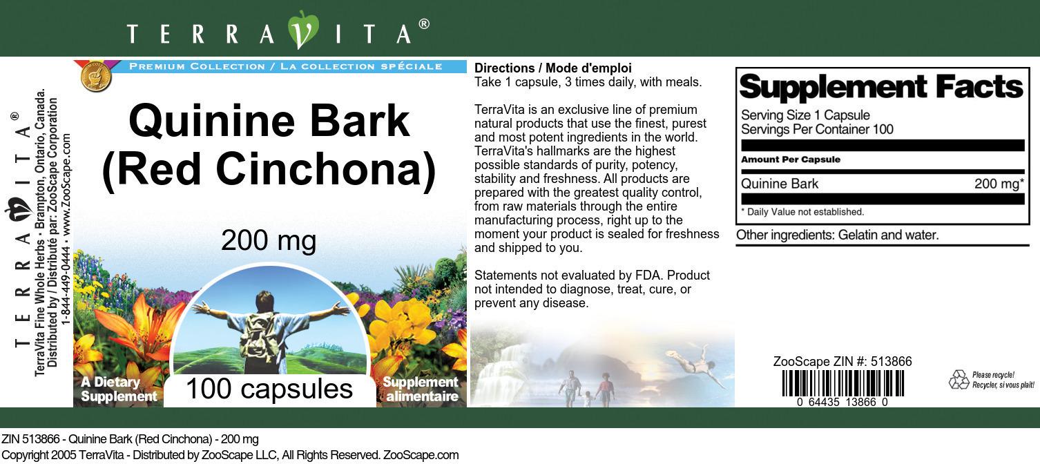 Quinine Bark (Red Cinchona) - 200 mg
