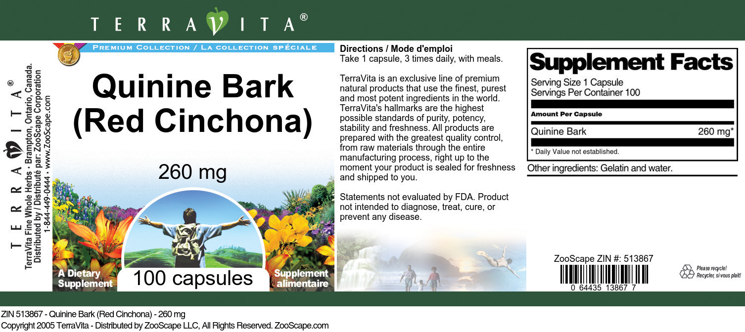 Quinine Bark (Red Cinchona) - 260 mg