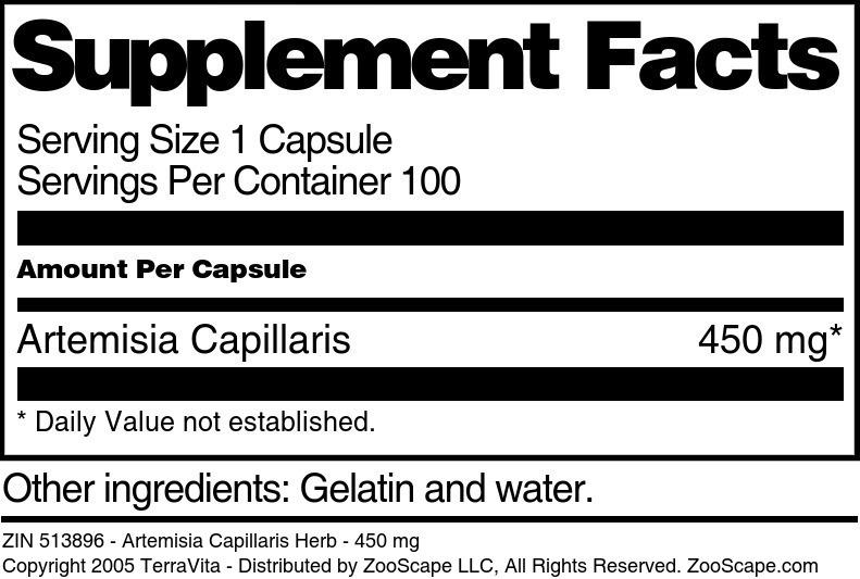 Artemisia Capillaris Herb - 450 mg