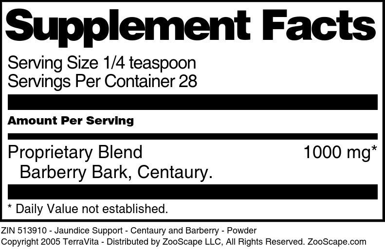 Jaundice Support - Centaury and Barberry - Powder