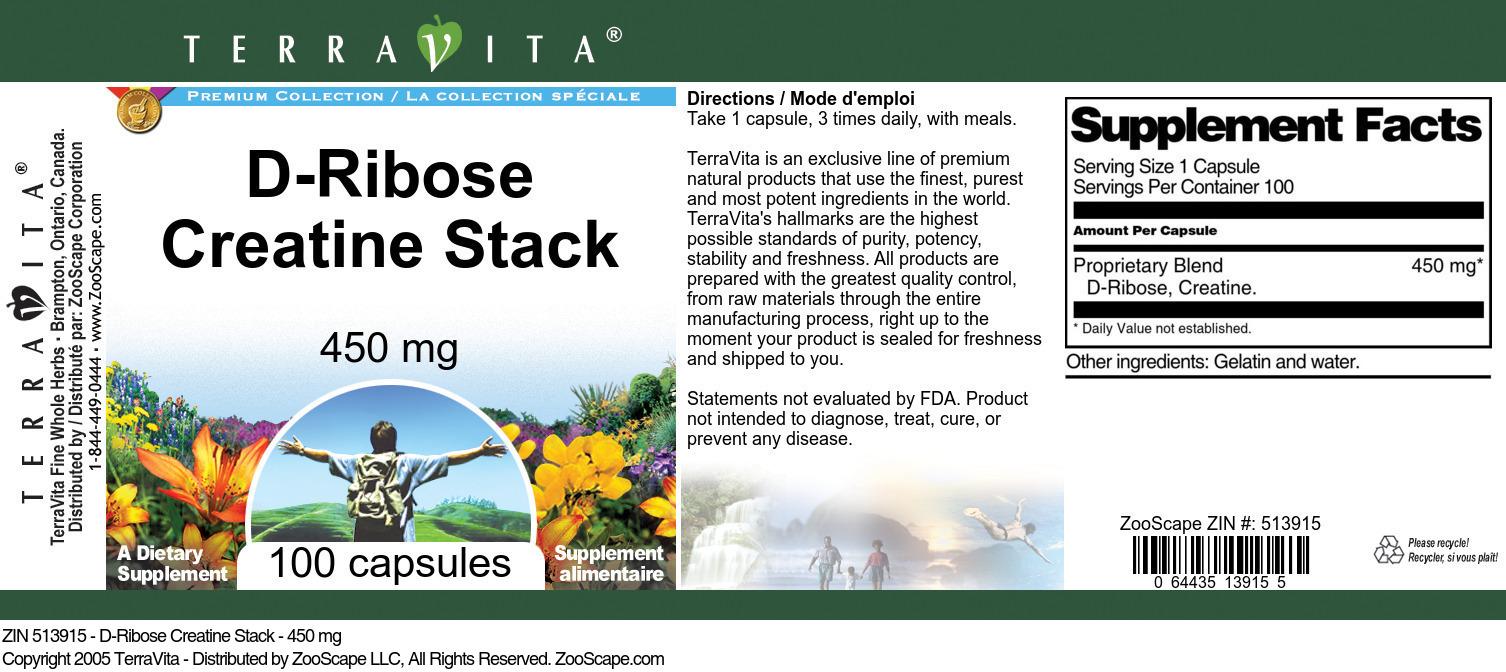D-Ribose Creatine Stack - 450 mg