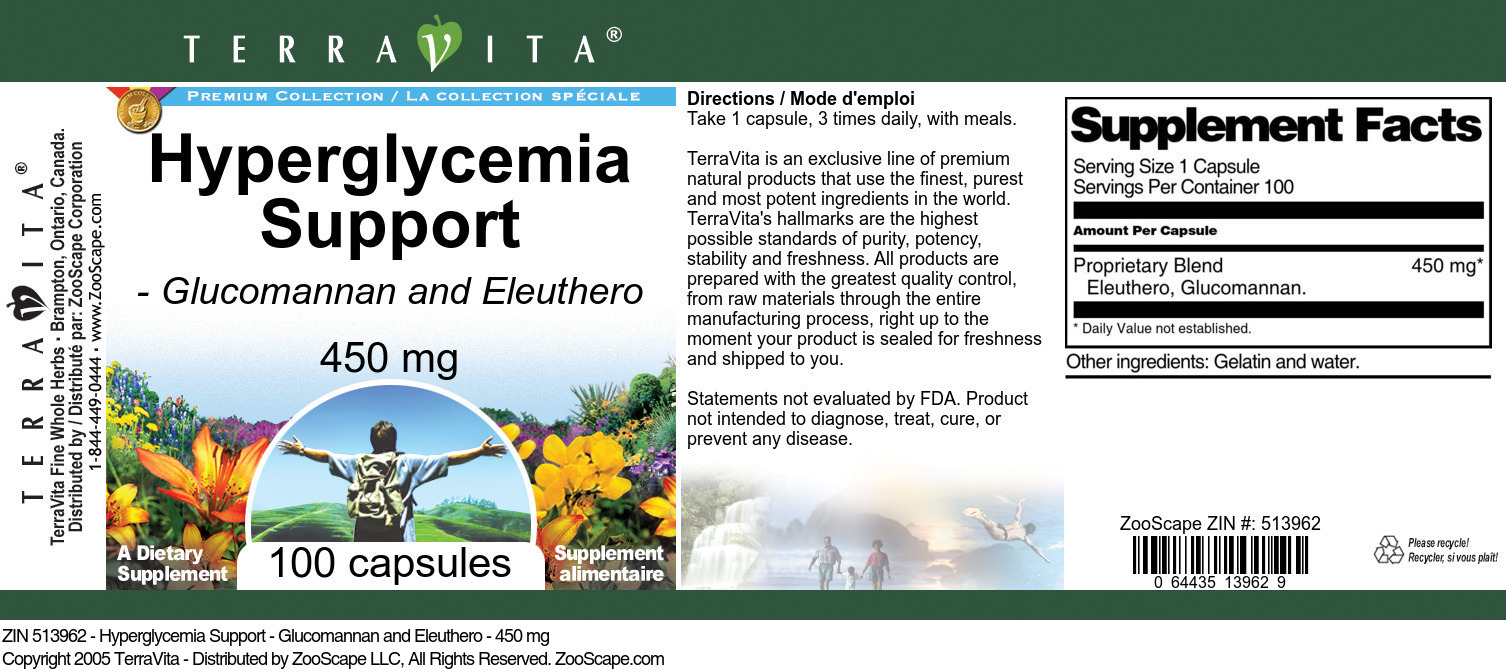 Hyperglycemia Support - Glucomannan and Eleuthero - 450 mg