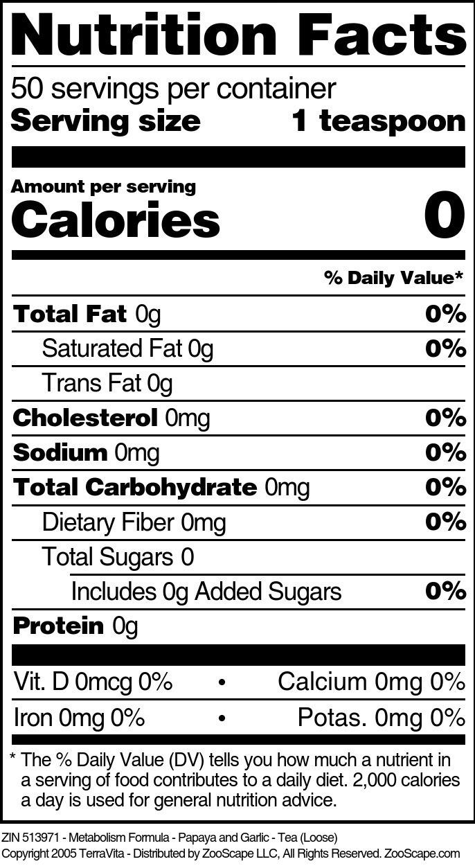 Metabolism Formula - Papaya and Garlic - Tea (Loose)