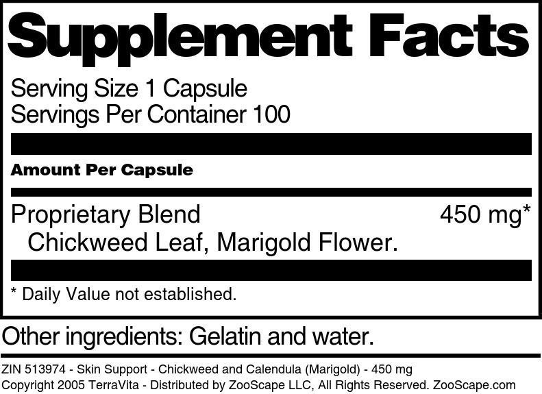 Skin Support - Chickweed and Calendula (Marigold) - 450 mg