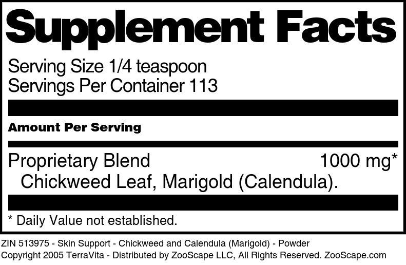 Skin Support - Chickweed and Calendula (Marigold) - Powder