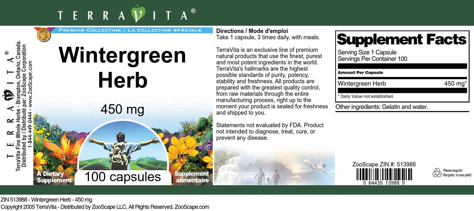Wintergreen Herb - 450 mg