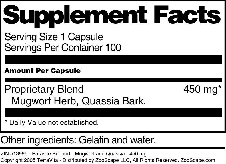 Parasite Support - Mugwort and Quassia - 450 mg