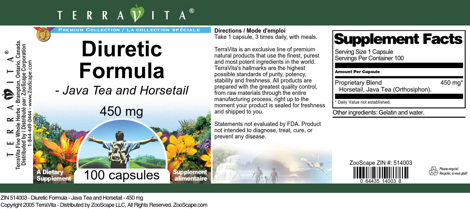 Diuretic Formula - Java Tea and Horsetail - 450 mg