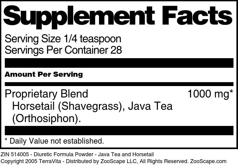 Diuretic Formula Powder - Java Tea and Horsetail