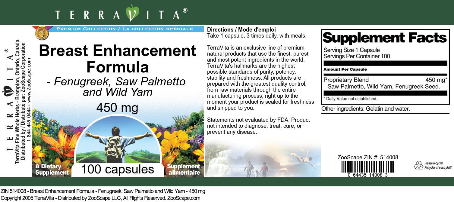 Breast Enhancement Formula - Fenugreek, Saw Palmetto and Wild Yam - 450 mg