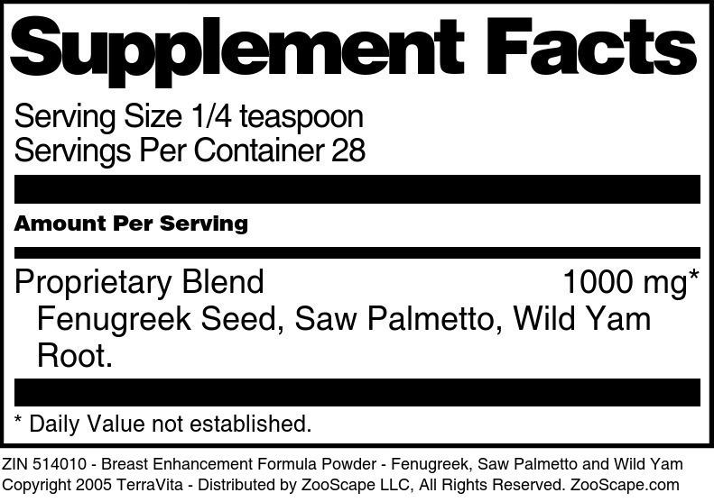 Breast Enhancement Formula Powder - Fenugreek, Saw Palmetto and Wild Yam