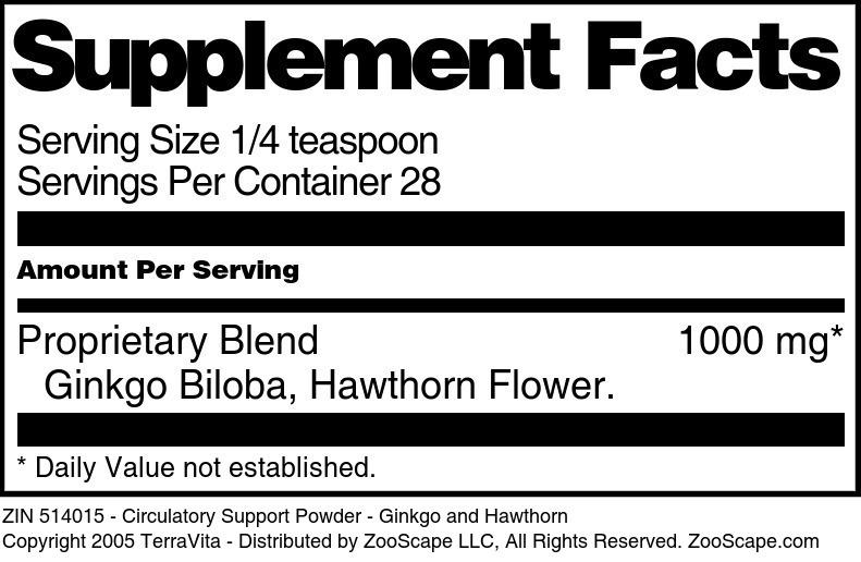 Circulatory Support Powder - Ginkgo and Hawthorn