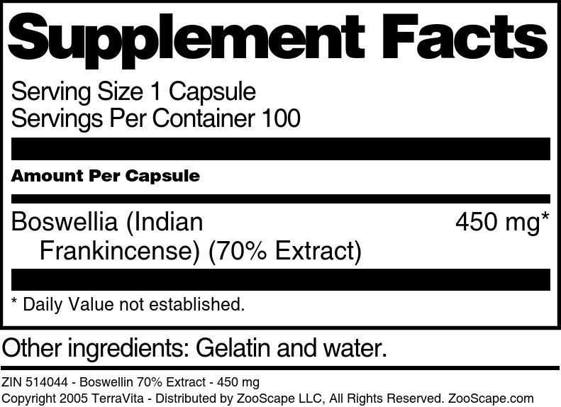 Boswellin 70% Extract - 450 mg