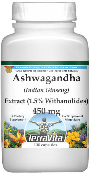 Ashwagandha (Indian Ginseng) Extract (1.5% Withanolides) - 450 mg