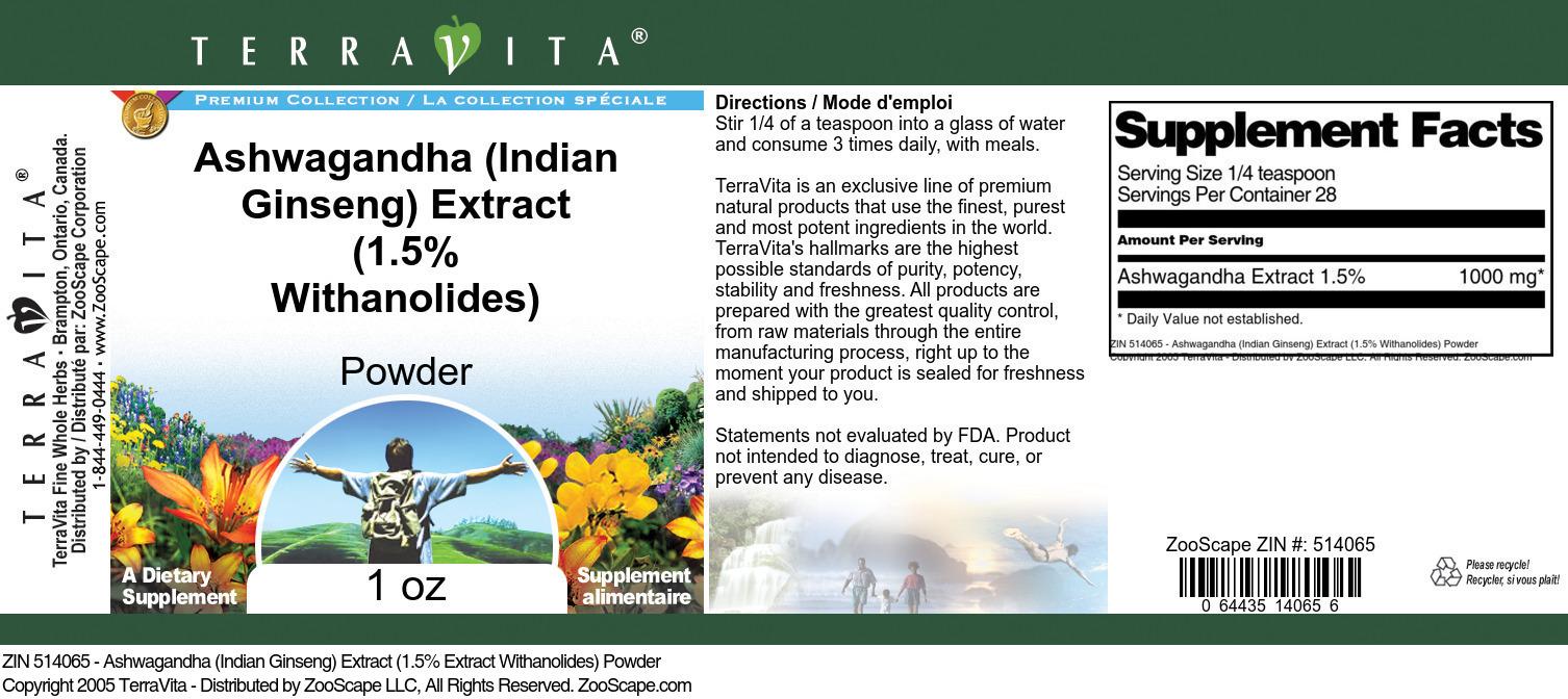 Ashwagandha (Indian Ginseng) Extract (1.5% Withanolides) Powder