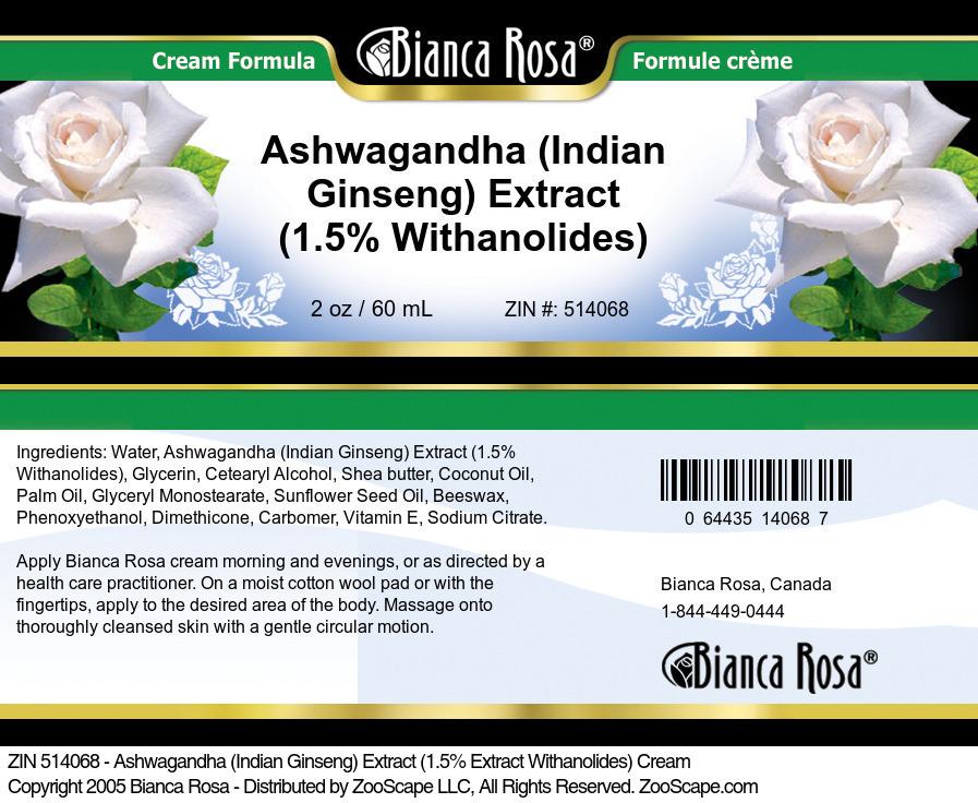 Ashwagandha (Indian Ginseng) Extract (1.5% Withanolides) Cream