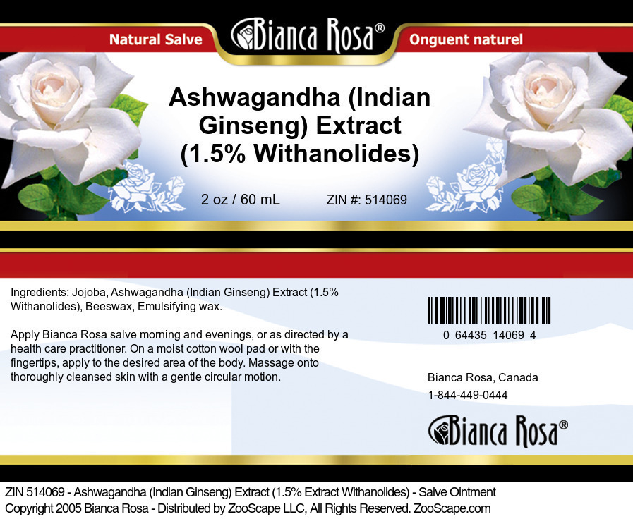 Ashwagandha (Indian Ginseng) Extract (1.5% Withanolides) - Salve Ointment