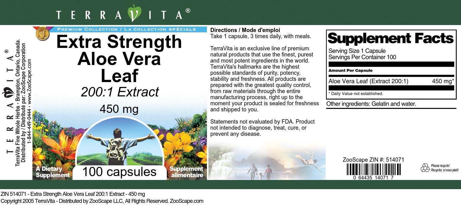 Extra Strength Aloe Vera Leaf 200:1 Extract - 450 mg
